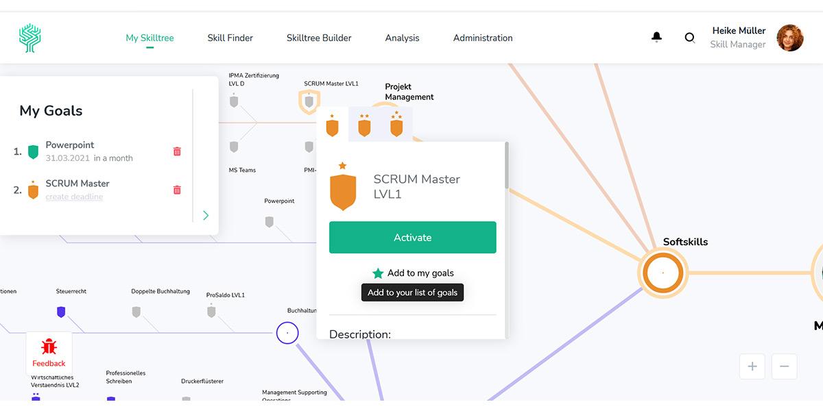 Skilltree - Wie sieht die Software aus